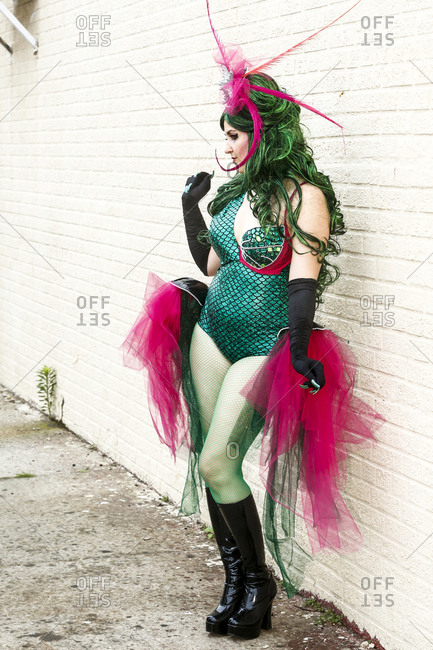 Mermaid Parade, Coney Island, New York. USA - June 17, 2017: A reveler poses in a Mermaid Parade costume