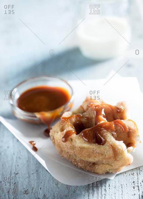 Sugar Waffle with Caramel Sauce