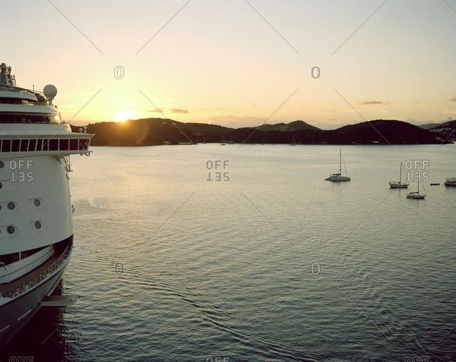Cruise ship off the coast of St. Martin Island in the Caribbean