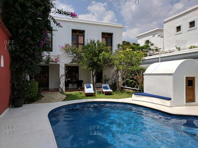 Pool in backyard area