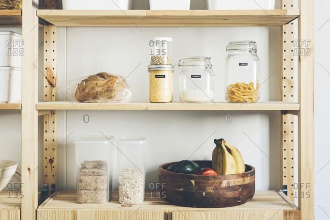 Food on pantry shelf