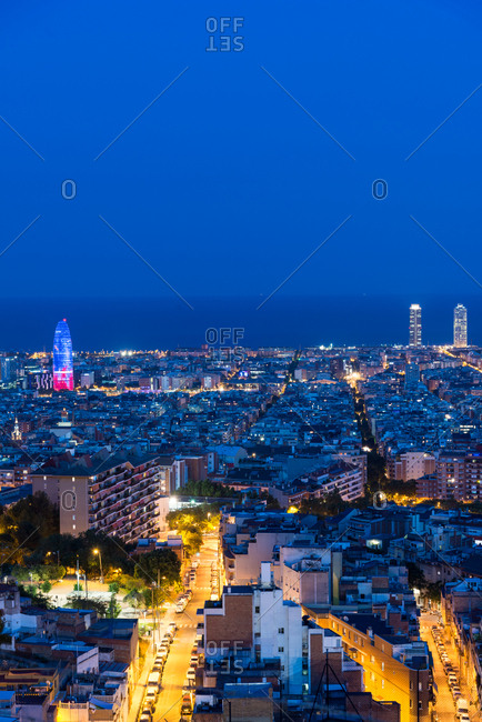 Barcelona, Spain - June 20, 2017: Cityscape at dawn