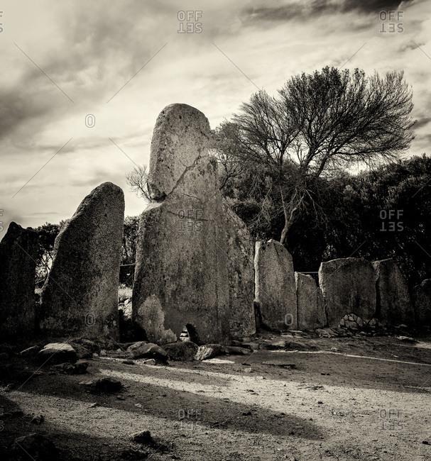 Giants' grave stone of Li Lolghi in black and white Giants' tomb of Li Lolghi