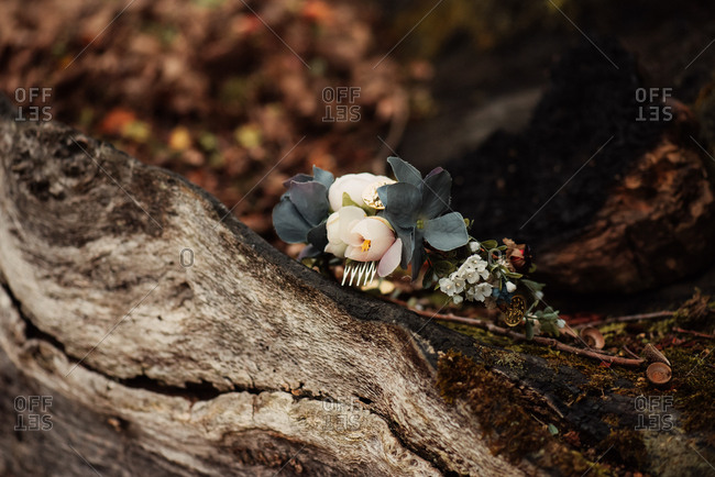 Floral woodland hair piece resting on a fallen log