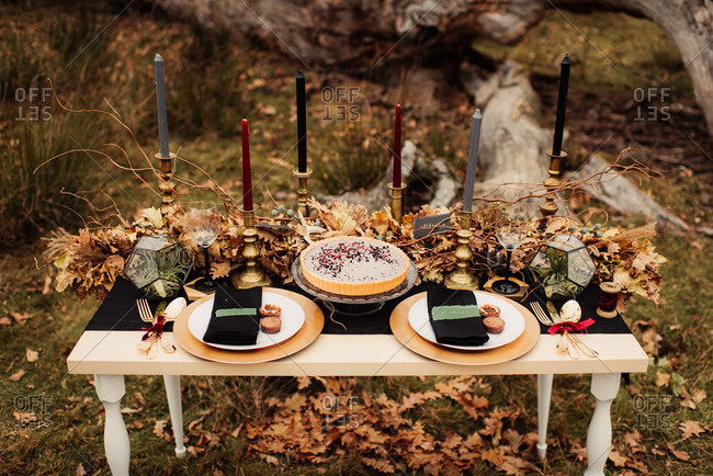Rustic table for two outdoors with two plates and a pie dessert