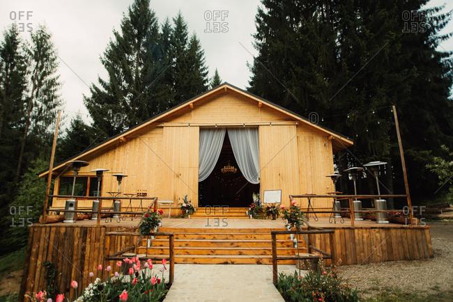 Rustic wedding venue exterior
