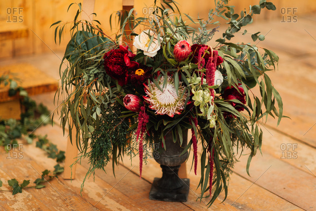 Wedding flowers in an urn
