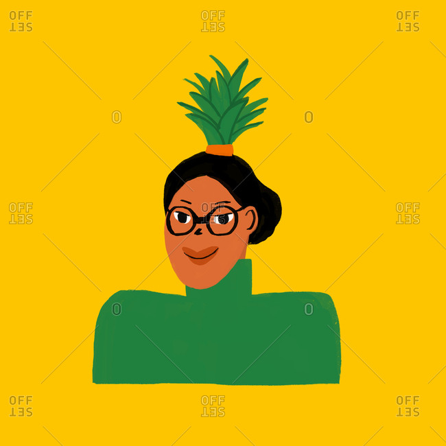 Woman with pineapple topped head
