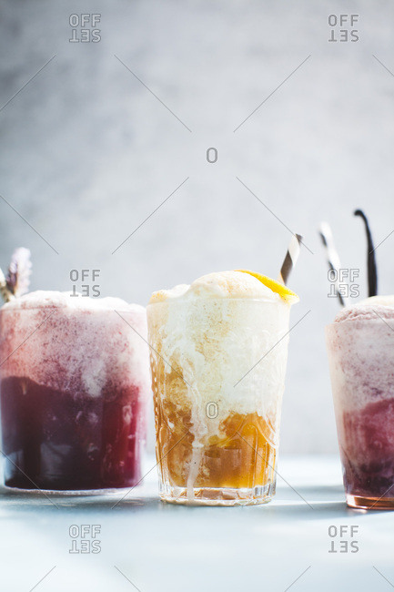 Bright and colorful ice cream float