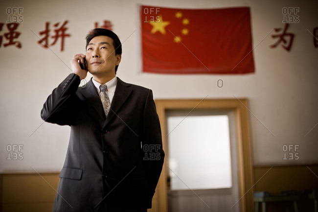 A businessman on his cell phone