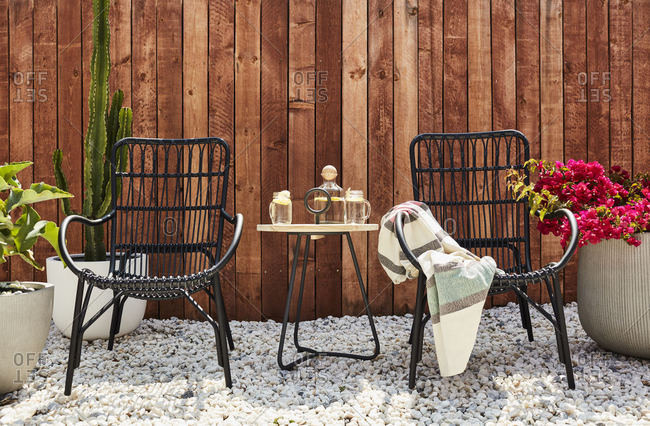 Baltimore, Maryland - May 12, 2017: Seating area by a fence
