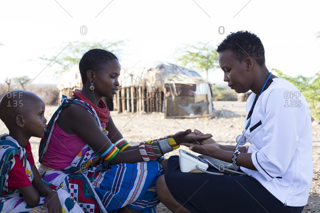 Kenya, Africa - April 25, 2017: Nurse working on location in Samburu village