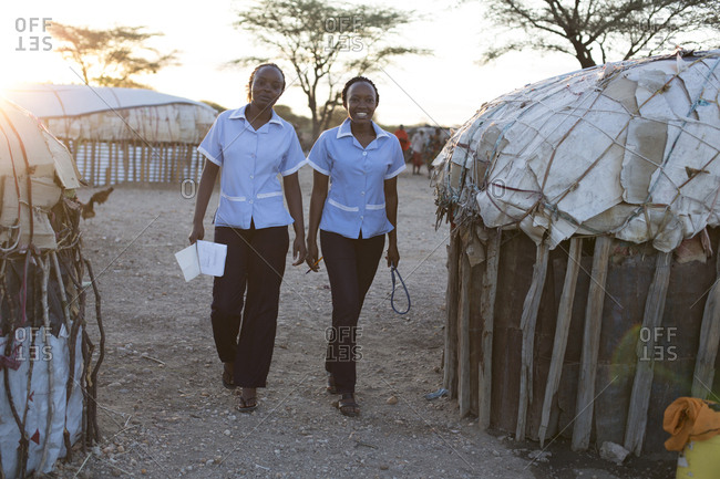 Kenya, Africa - April 25, 2017: Two nurses working in rural village location