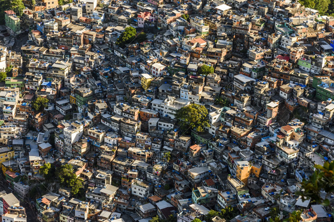 Rio de Janeiro, Brazil - February 22, 2017: Rocinha Favela, Brazil's largest slum