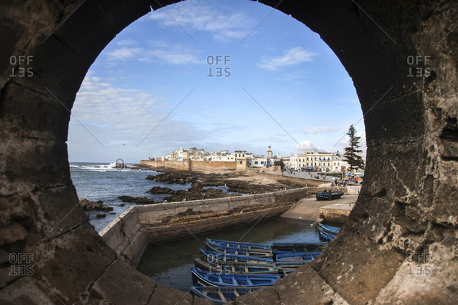 Lofoten Islands, Norway - March 30, 2012: A view of Essaouira, Morocco from a porthole in one of the stone bastions surrounding the city.