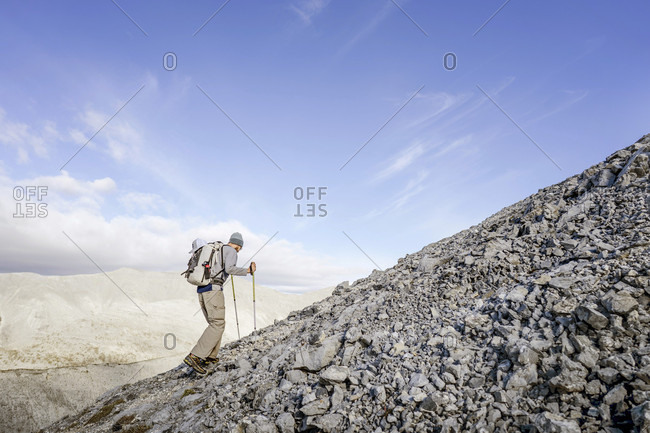 Male  hiker Stone Mountain British Columbia in the Northern Rockies