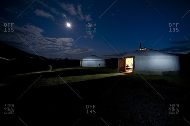 Mongolian Yurt With Moon In The Sky At Night, Mongolia