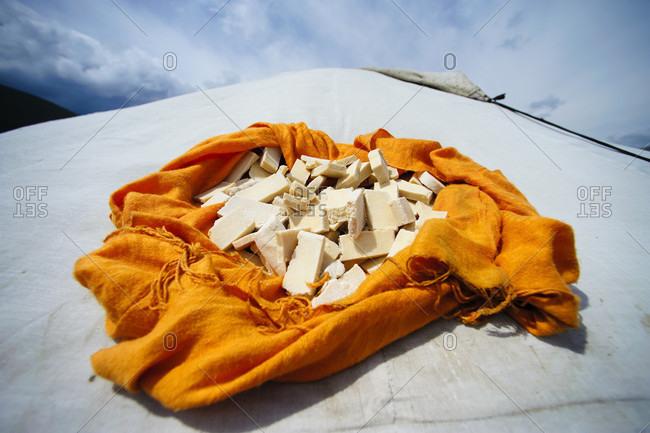 Mongolian Cheese Drying On The Top Of The Yurt, Mongolia