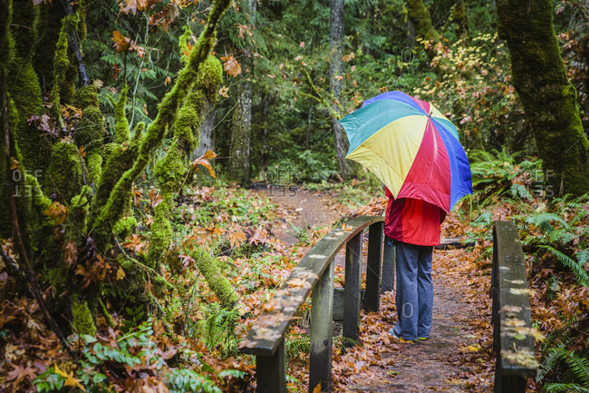 Rear view of a female hiker with a colorful umbrella standing on a wooden footbridge in Central Oregon This image has a signed model release