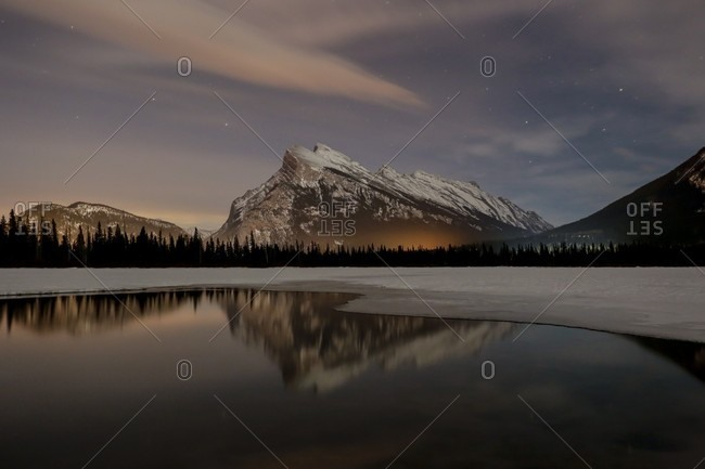 Sunrise view of mountains, lake