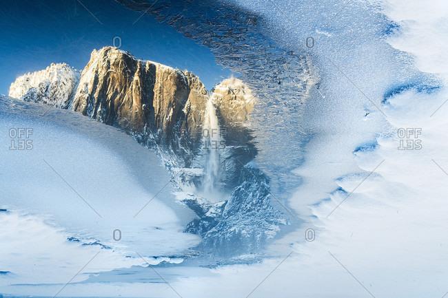 View of Yosemite falls on winter