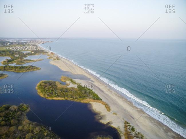 Aerial drone view of Rhode Island beach shoreline