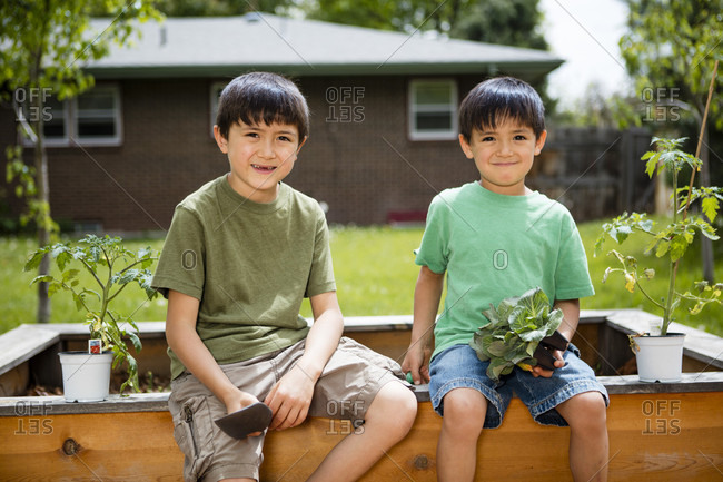 Two Japanese American boys helping in garden