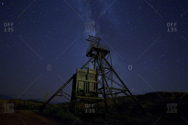 Wooden structure with observation point at night