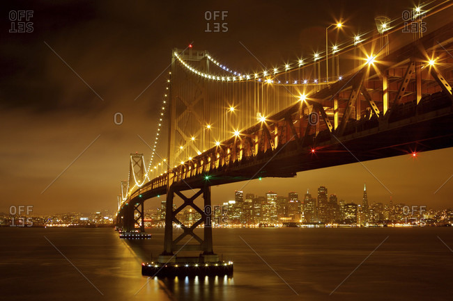 San Francisco-Oakland Bay Bridge at night, San Francisco, California, United States