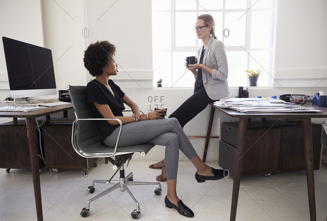 Two young businesswomen chatting over coffee in an office