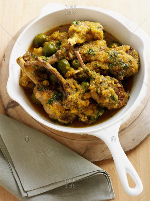Dish of Moroccan lamb chops