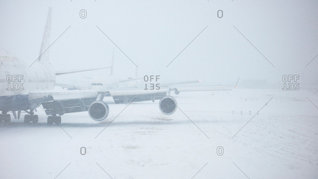 Airplane on snowy runway