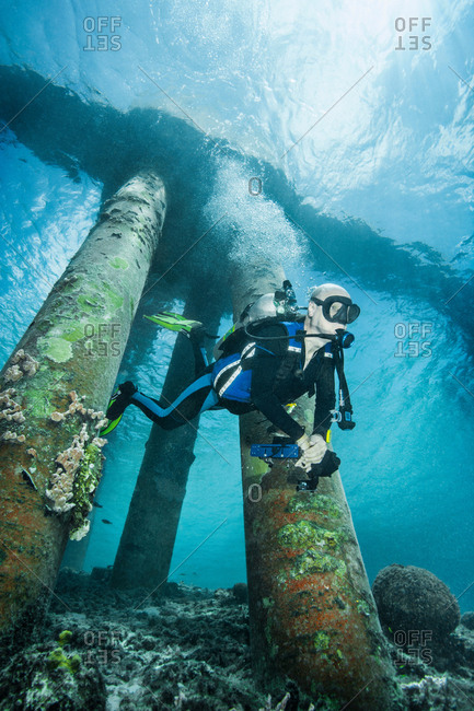Diver examining underwater shipwreck