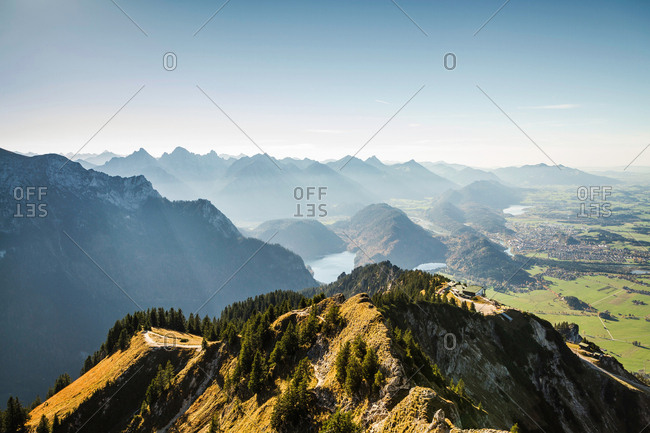 Mountain overlooking rural landscape