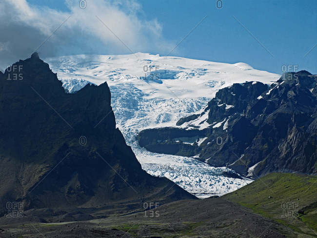 Elevated view of the Svinafellsjokull glacier, South East Iceland