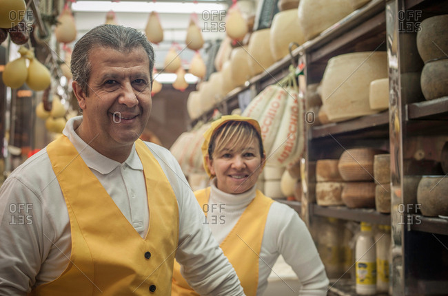 Man and woman in cheese shop