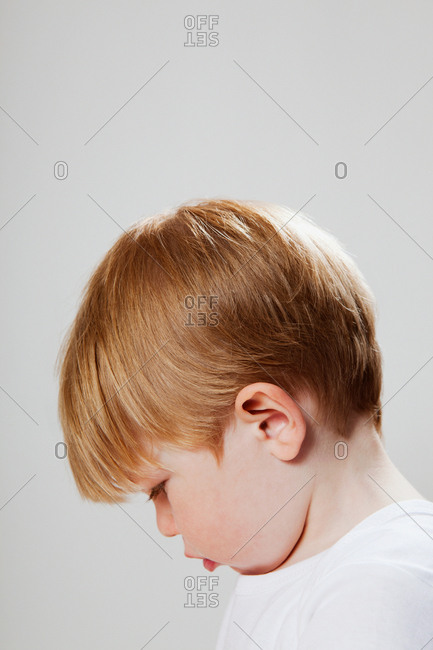 Boy looking down