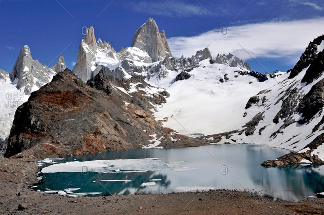 Monte Fitz Roy from the lookout in Los Glaciares National Park, El Chalten, Argentina