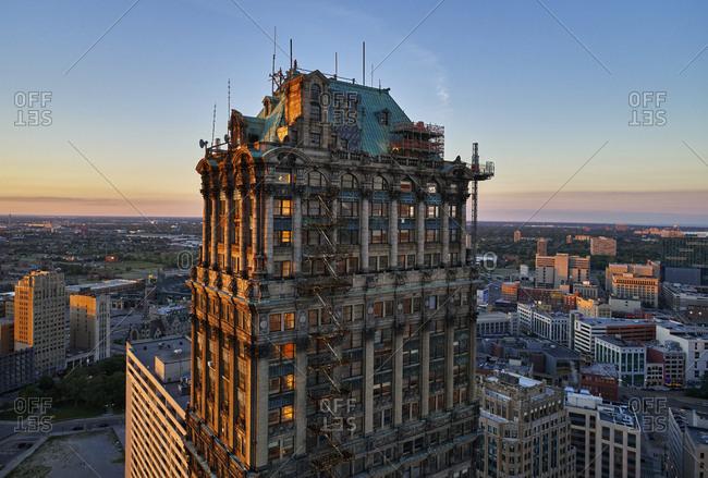 Detroit, Michigan - June 21, 2017: Historic Book Tower amidst renovations