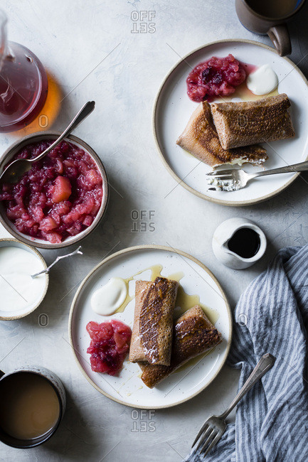 Cheese Blintzes with apple cranberry sauce