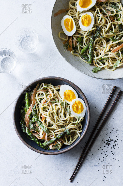 Asian spring vegetable noodles with soft egg