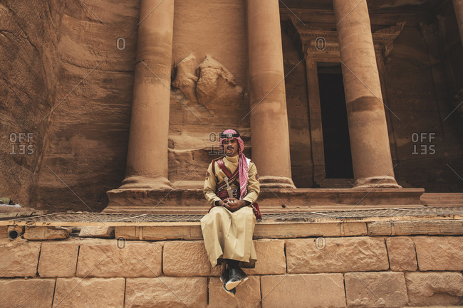 Petra, Jordan - 13, September 2015. A guard at the Treasury also which is known as Al Khazneh in the city of Petra. The Treasury is a temple in the ancient Arab Nabatean Kingdom in Jordan