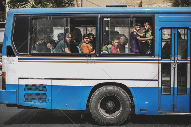 Amman, Jordan - 11, September 2015. A bus full of passengers in Jordan
