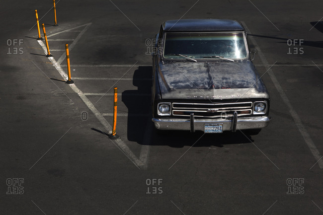 Las Vegas, United States of America - August 16, 2011. An old Chevrolet car in a parking lot in Las Vegas