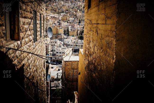 Amman, Jordan - October 22, 2013. The view from an alley in the City of Amman, the capital of Jordan