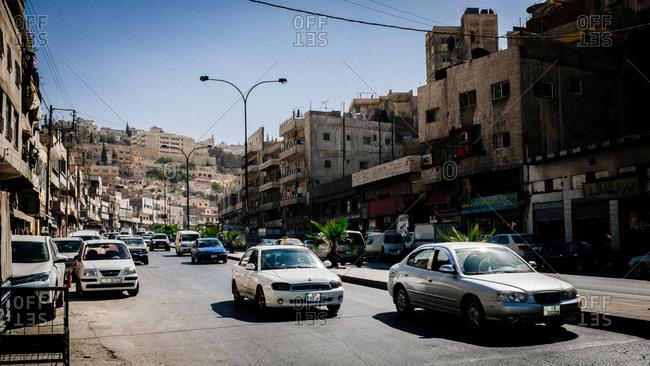 Amman, Jordan - 22, October 2013. Traffic in City of Amman, the capital of Jordan