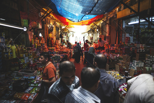 Amman, Jordan - 11, September 2015. Different kind of grocery stores at the local bazaar in Amman