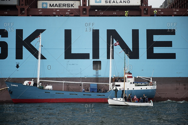 Denmark - July 13, 2014. The Danish Maersk Triple E class container ships are the world's largest ships in service