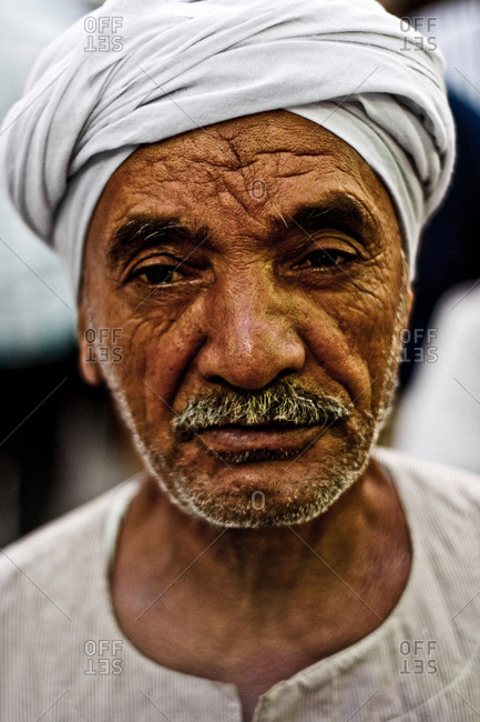 Cairo, Egypt - October 17th, 2008. A local Egyptian man wearing a traditional rural turban