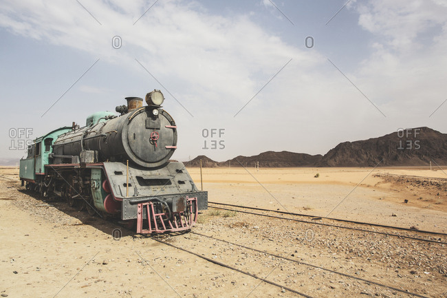 An old locomotive in the desert